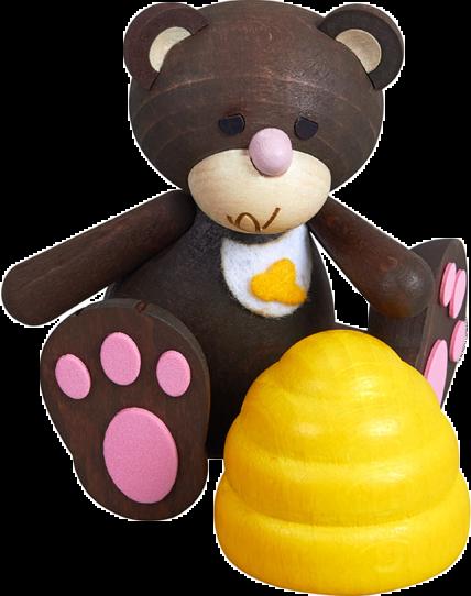 Kunibärt das Schleckermäulchen mit Bienenkorb und rosa Tatzen, Lätzchen, lecker, Honig, Bär, Teddy, Teddybär, Holz