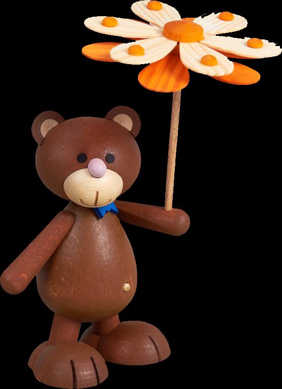 Kunibärt mit Blumenschirm, Fliege blau, Bär, Teddy, Teddybär, Holz, Holzblume, Geschenk