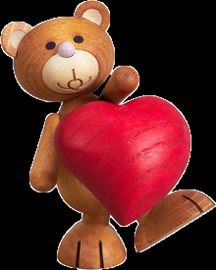 Kunbärt schenkt sein Herz, Teddy, Bär, Teddybär, Holz, Liebe, Herz, Geschenk