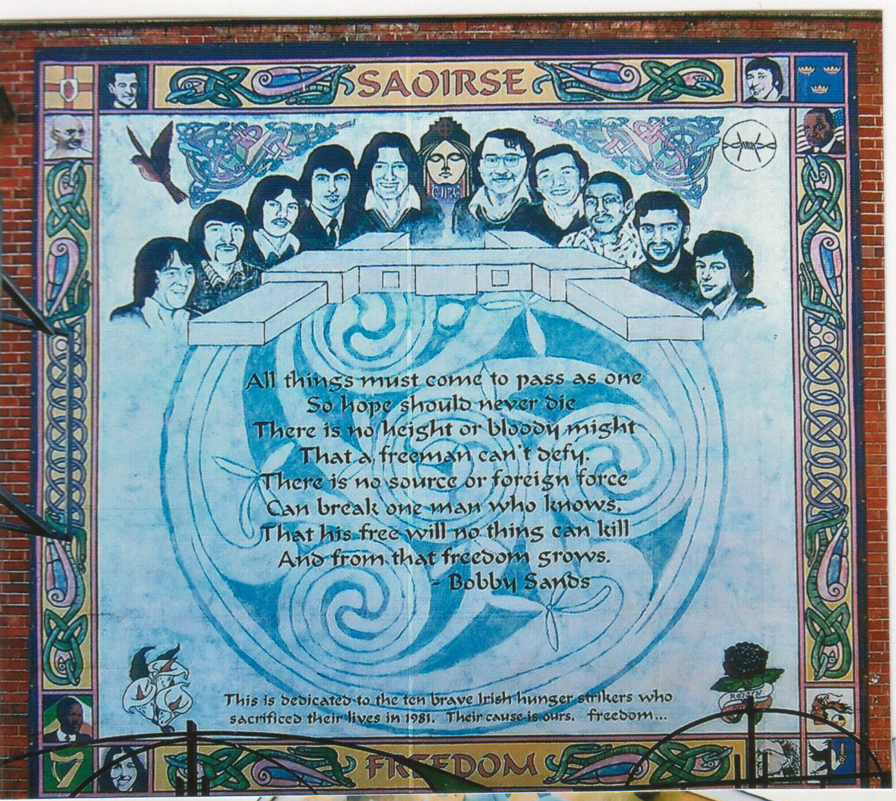 1981, pour protester contre la perte de leur statut de prisonnier politique, 10 jeunes entament une grève de la faim dans la prison de Maze