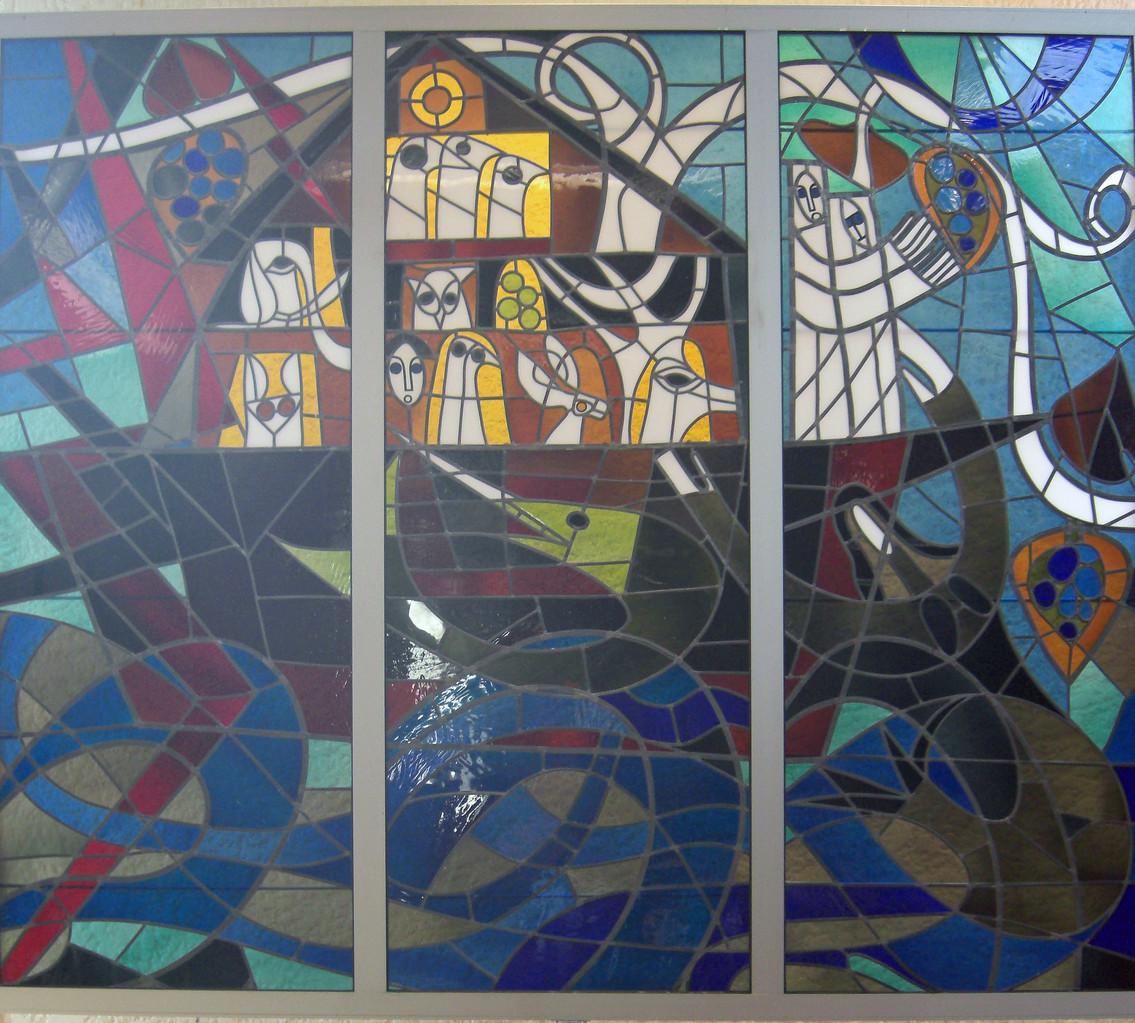 Réalisation du vitrail de l'église de Lacanau Océan par B. Fournier