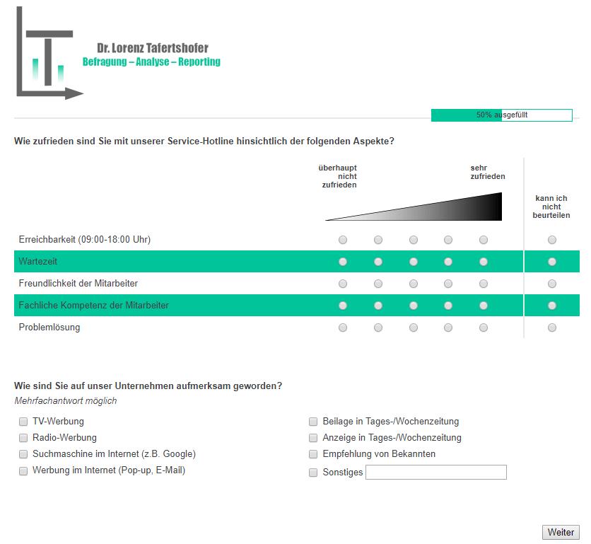Programmierung von Online-Fragebogen