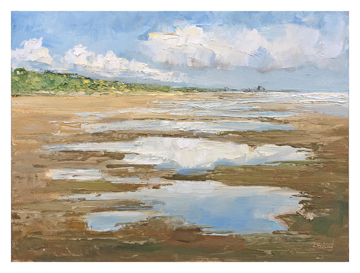 TE KOOP    water op strand, Zomerdag juli, IJmuiden,  paneel  30 x 40 cm