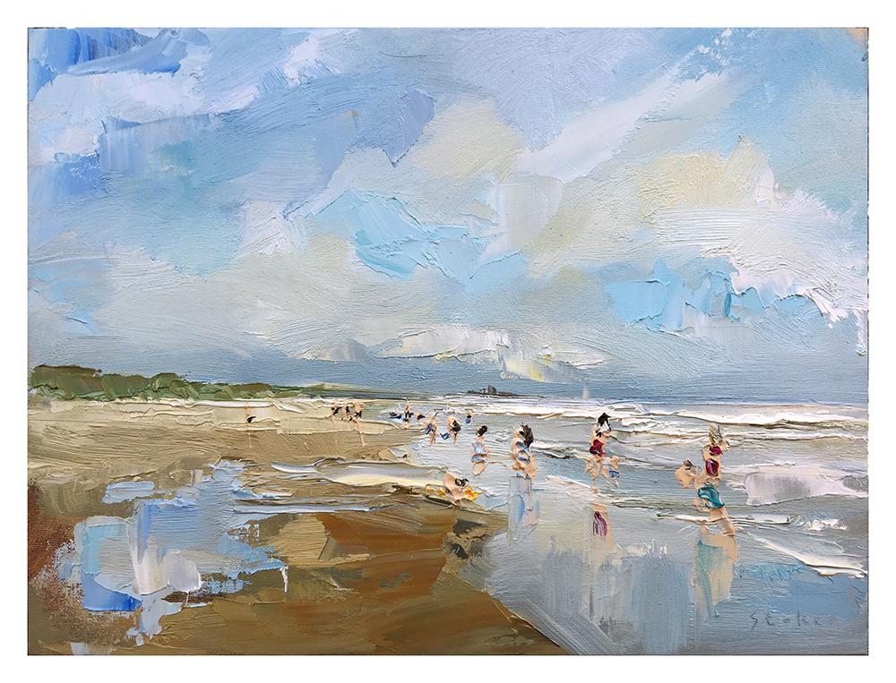 TE KOOP    Zomerdag juli, Katwijk aan zee,  paneel  30 x 40 cm