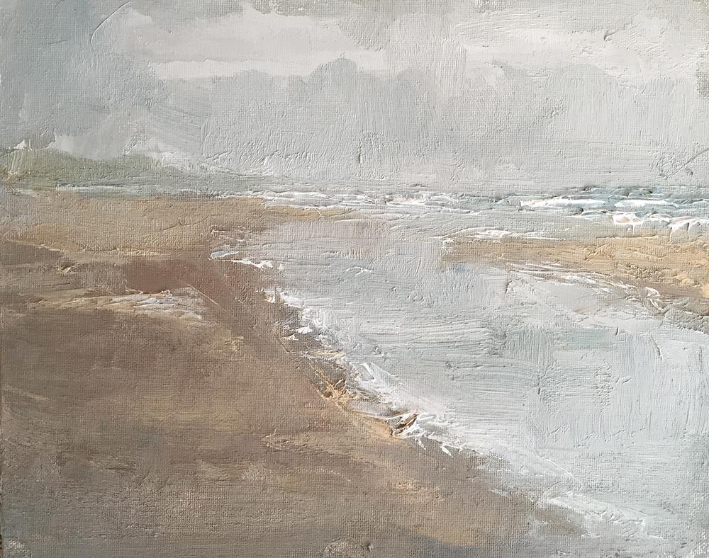 TE KOOP.    Bewolkte dag, Katwijk aan Zee.   paneel  24 x 30 cm