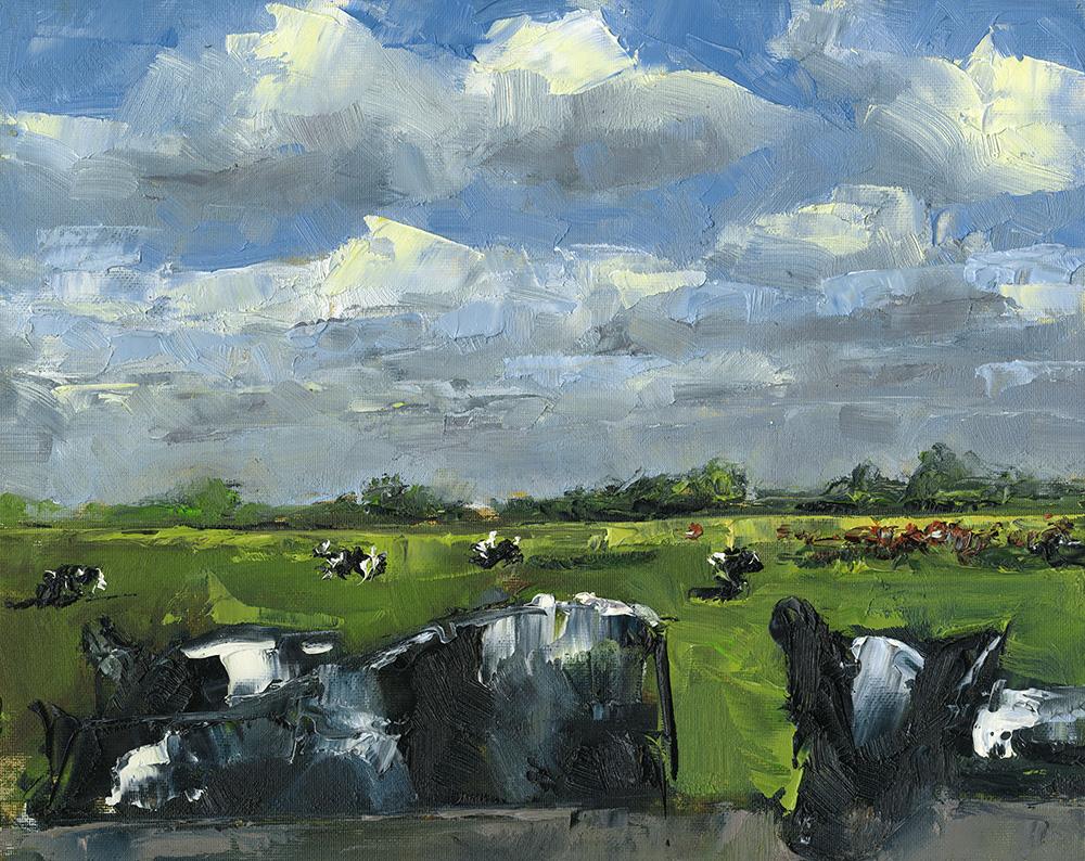 TE KOOP.    Koeien in de wei, Spaarndam.   paneel  24 x 30 cm