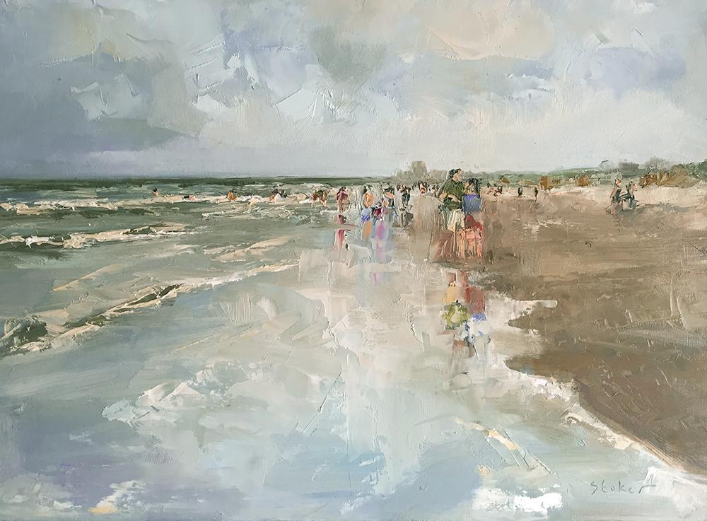 TE KOOP    Bewolkte zomerdag juli, Katwijk aan zee,  paneel  30 x 40 cm