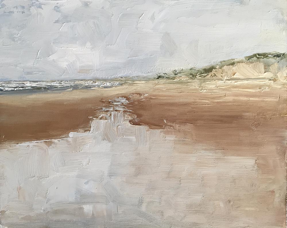 TE KOOP.    Achtergebleven water op strand , Bloemendaal  juni 2019.   paneel  30 x 40 cm