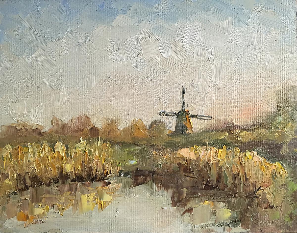 TE KOOP.    Veerpoldermolen 1 , Haarlem, februari 2019.   paneel  24 x 30 cm