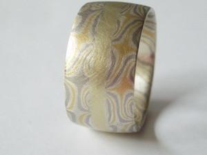Silber/Gelbgold/Palladium doppelttordiert mit einem inneren Goldring