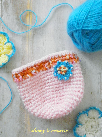 手編みのがま口ポーチ制作中