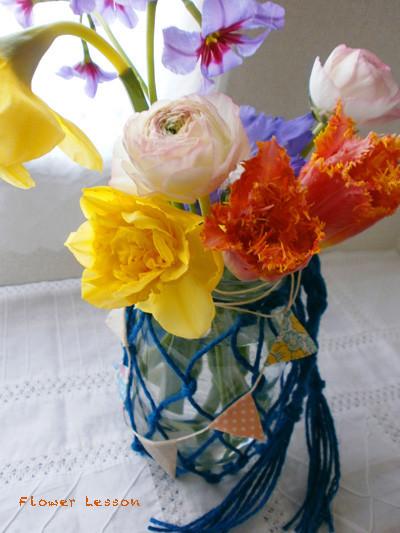 フラワーレッスン、春色アレンジメント