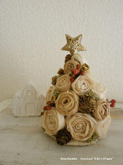 削り花(カンナくず)で作るクリスマスツリー