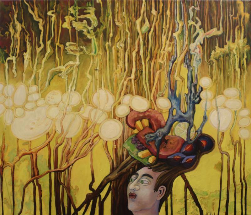 Exotische Wunschblasen träumen von weltweiter Esskultur, 2020 Acryl, Öl auf Leinwand