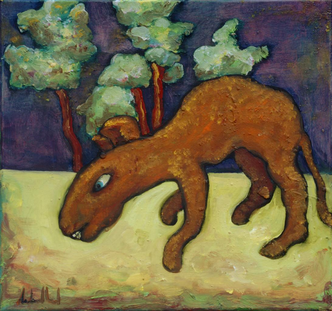 Ratte · 2013, Acryl Öl auf Pappe, 18 x 19 cm