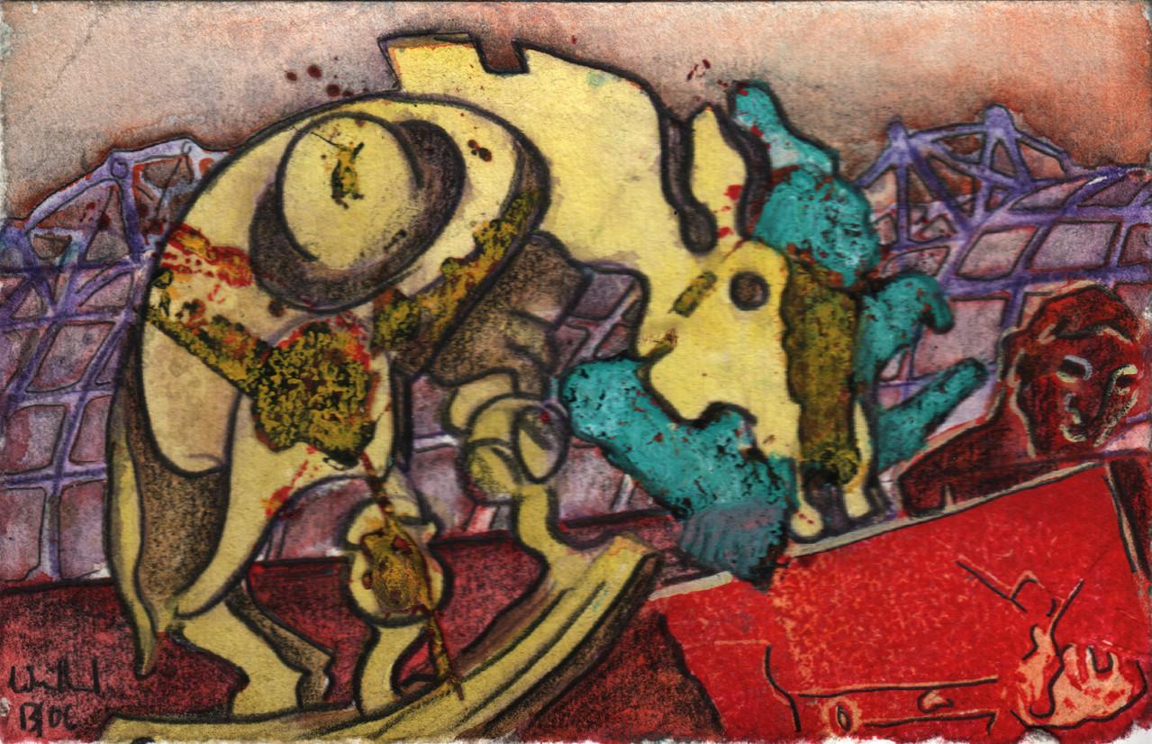 Pferd · 2013, Mischtechnik auf Papier, 10 x 15 cm