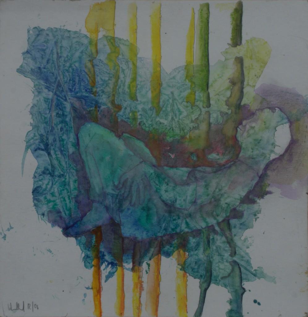 Hastich träumt · 2013, Mischtechnik auf Papier, 30 x 30 cm