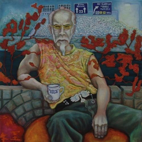 Jürgen · 2010, Acryl, Öl auf Leinen, 80 x 80 cm