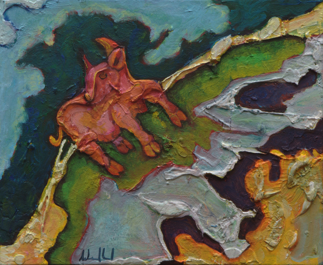 Die Kuh auf grüner Wiese · 2012, Acryl, Öl auf Pappe, 20 x 16 cm
