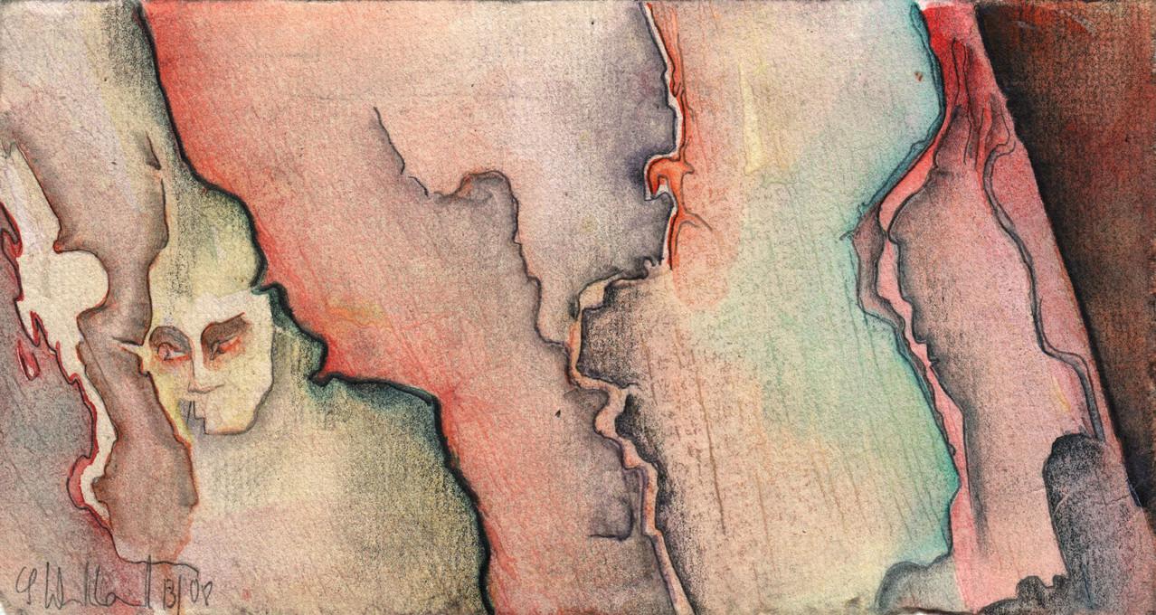 Erscheinung · 2013, Mischtechnik auf Papier, 10 x 18 cm