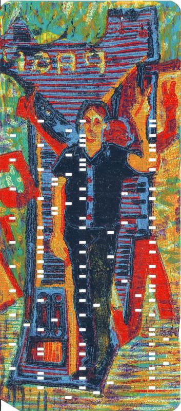 Welcome · 2016, Holzschnitt auf Lochkarte, 18,5 x 8,5 cm