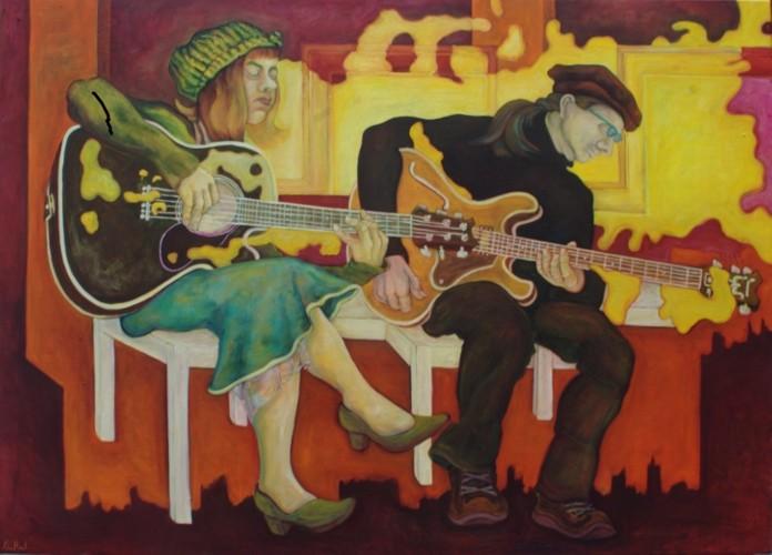 Joy und Junica · 2012, Acryl, Öl auf Leinen, 71 x 50 cm
