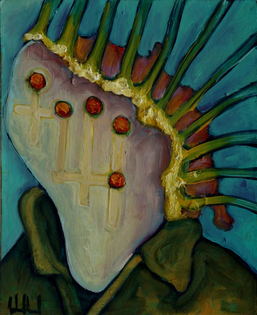 Gesichtsspeicher · 2013, Acryl, Öl auf Pappe, 16 x 13 cm