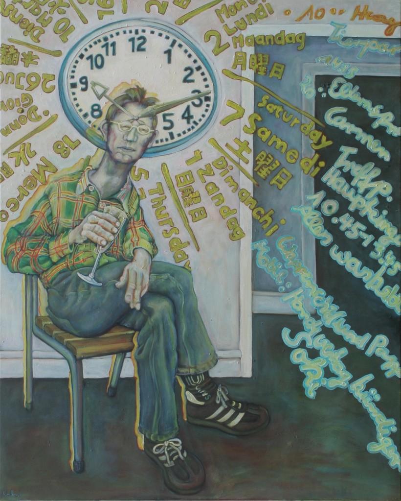 Zeitliches Kharma · 2010, Acryl, Öl auf Nessel, 100 x 80 cm