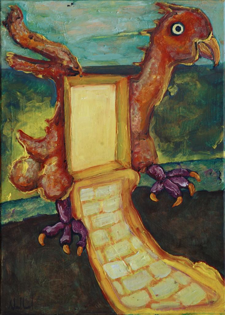 Vogeltor · 2013, Acryl Öl auf Pappe, 21 x 15 cm