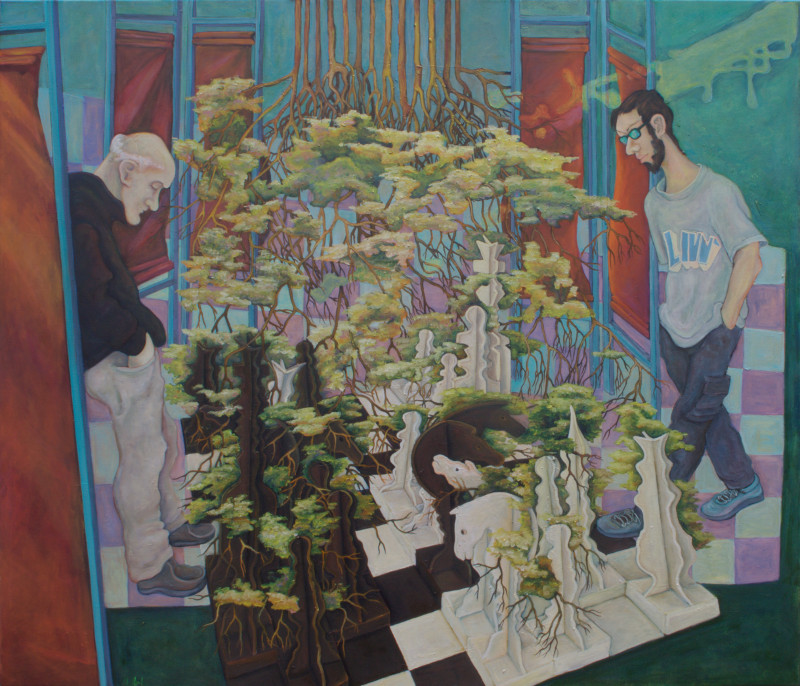 Schachmatt · 2012, Acryl, Öl auf Nessel, 140 x 120 cm