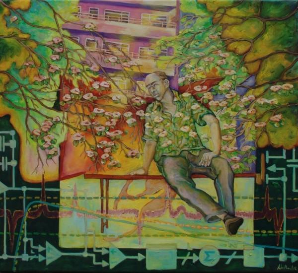 Hastich · 2012, Acryl, Öl auf Leinen, 55 x 60 cm