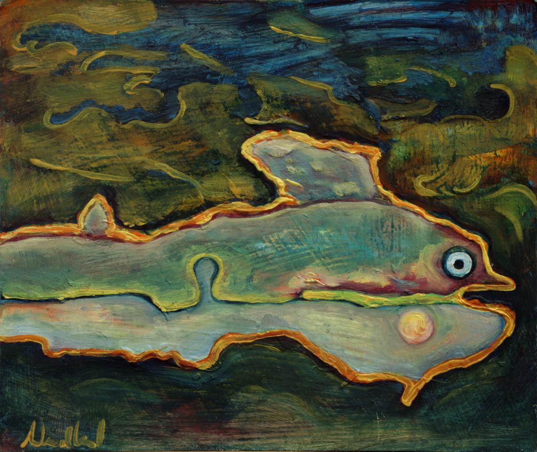 Fisch · 2013, Acryl, Öl auf Pappe, 20 x 16 cm