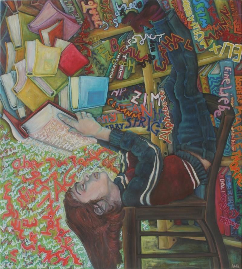 Bücherwurm · 2010, Acryl, Öl auf Nessel, 95 x 85 cm