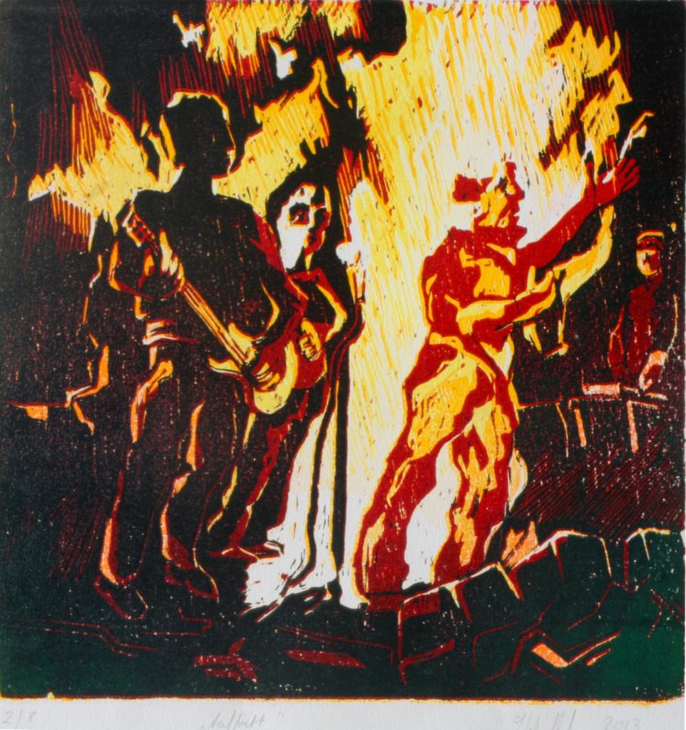 Auftritt · 2013, Holzschnitt, 40 x 40 cm