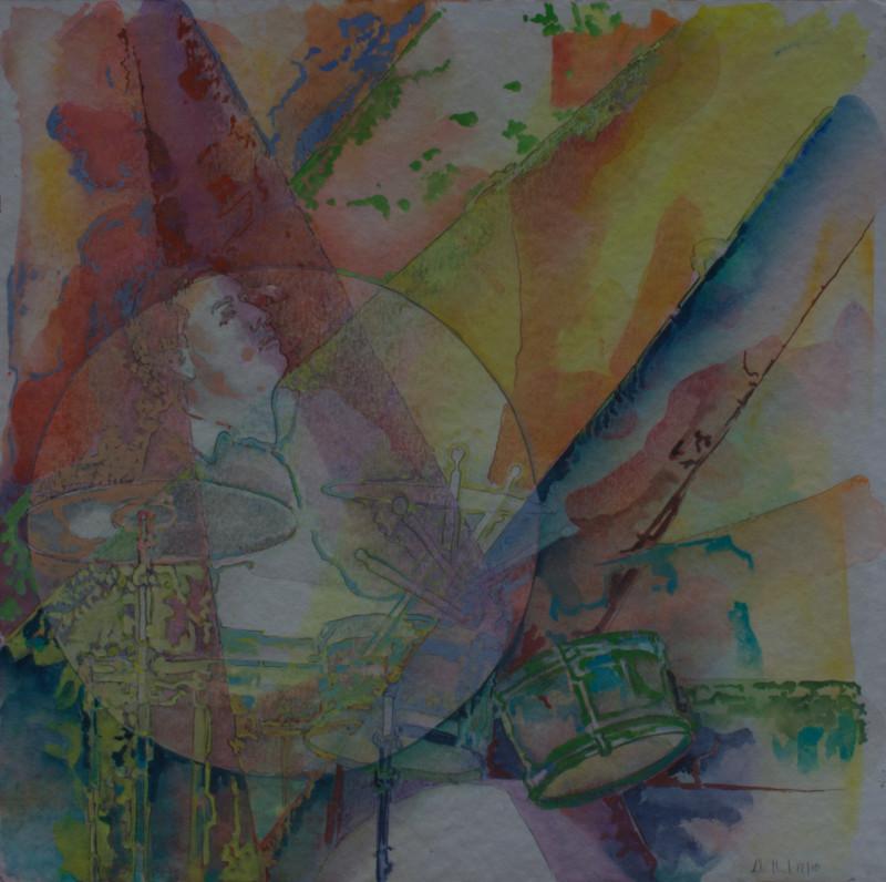 Trommler · 2013, Mischtechnik auf Papier, 40 x 40 cm