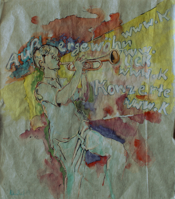 Außergewöhnlicher Trompeter · 2013, Tusche auf China Papier, 30 x 26 cm