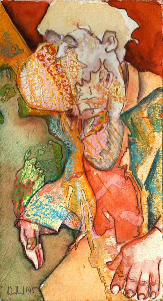 Reaggie Man · 2013, Mischtechnik, 17,5 x 9 cm
