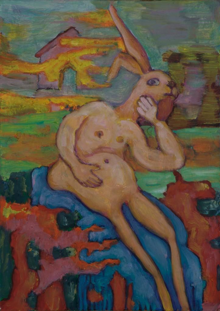 Hasenmann · 2012, Acryl, Öl auf Pappe, 22 x 16 cm