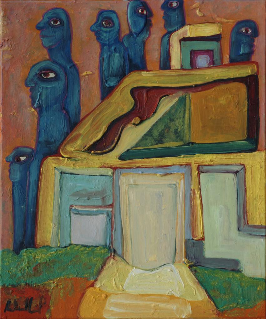 Blaumänner · 2013, Acryl, Öl auf Pappe, 20 x 16 cm