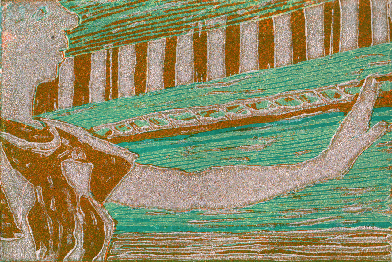 Abwehr · 2013, Holzschnitt, 8 x 12 cm