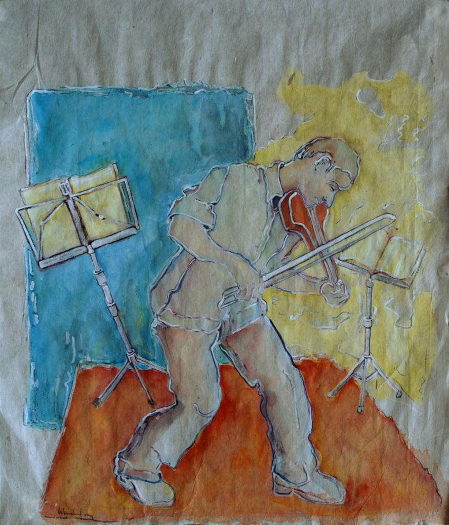 Elektrische Geige · 2013, Tusche auf China Papier, 30 x 26 cm