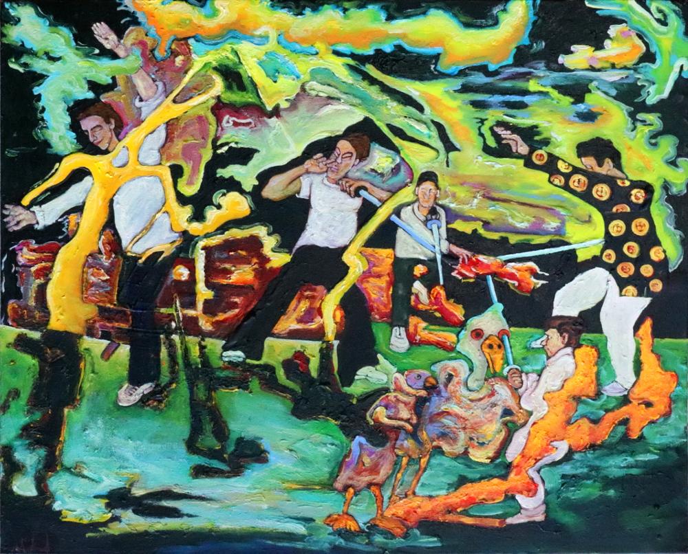 TaijiJian · Acryl, Öl auf Nessel, 40 x 50 cm