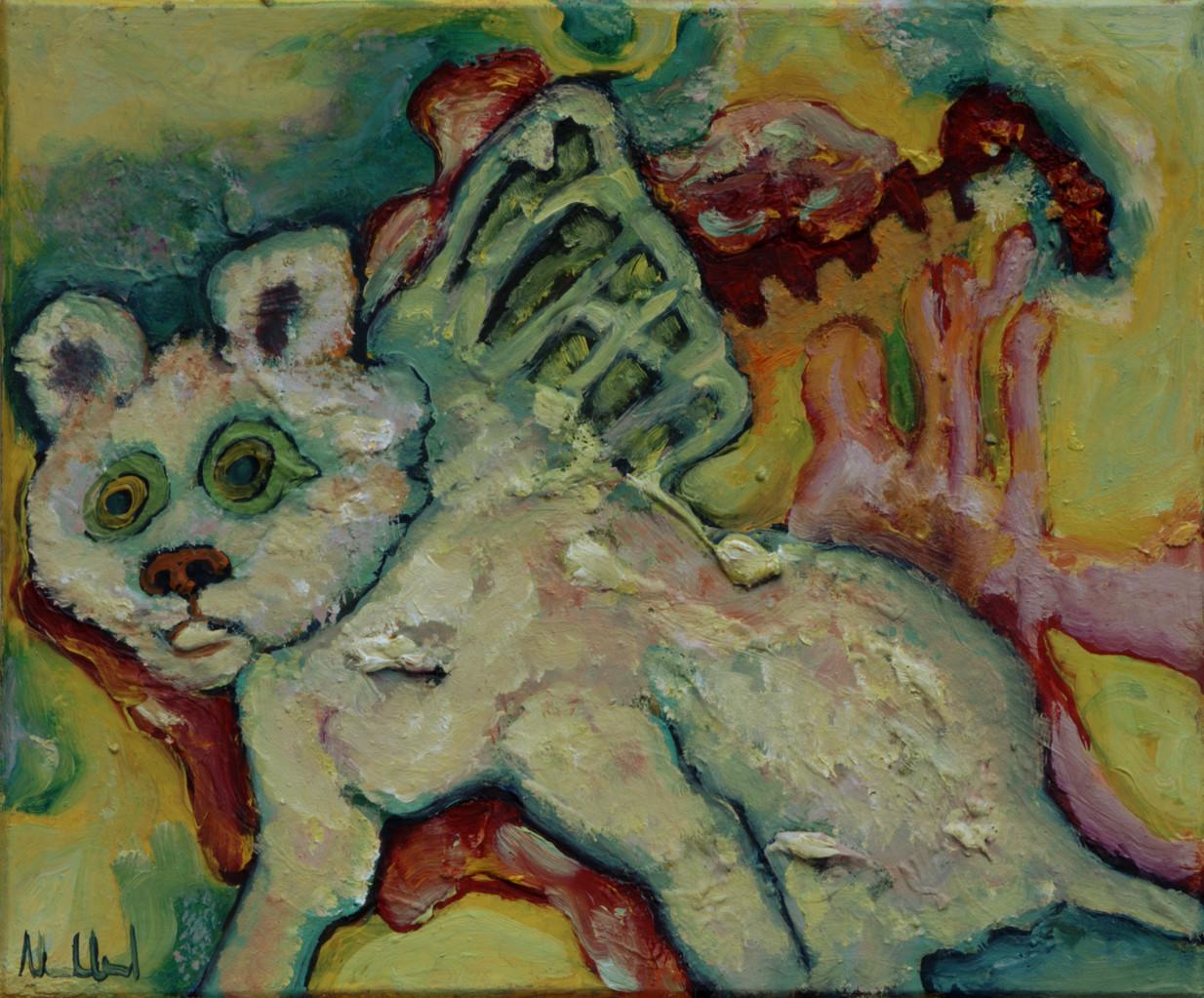 Geflügeltes Wesen · 2013, Acryl Öl auf Pappe, 15 x 18 cm