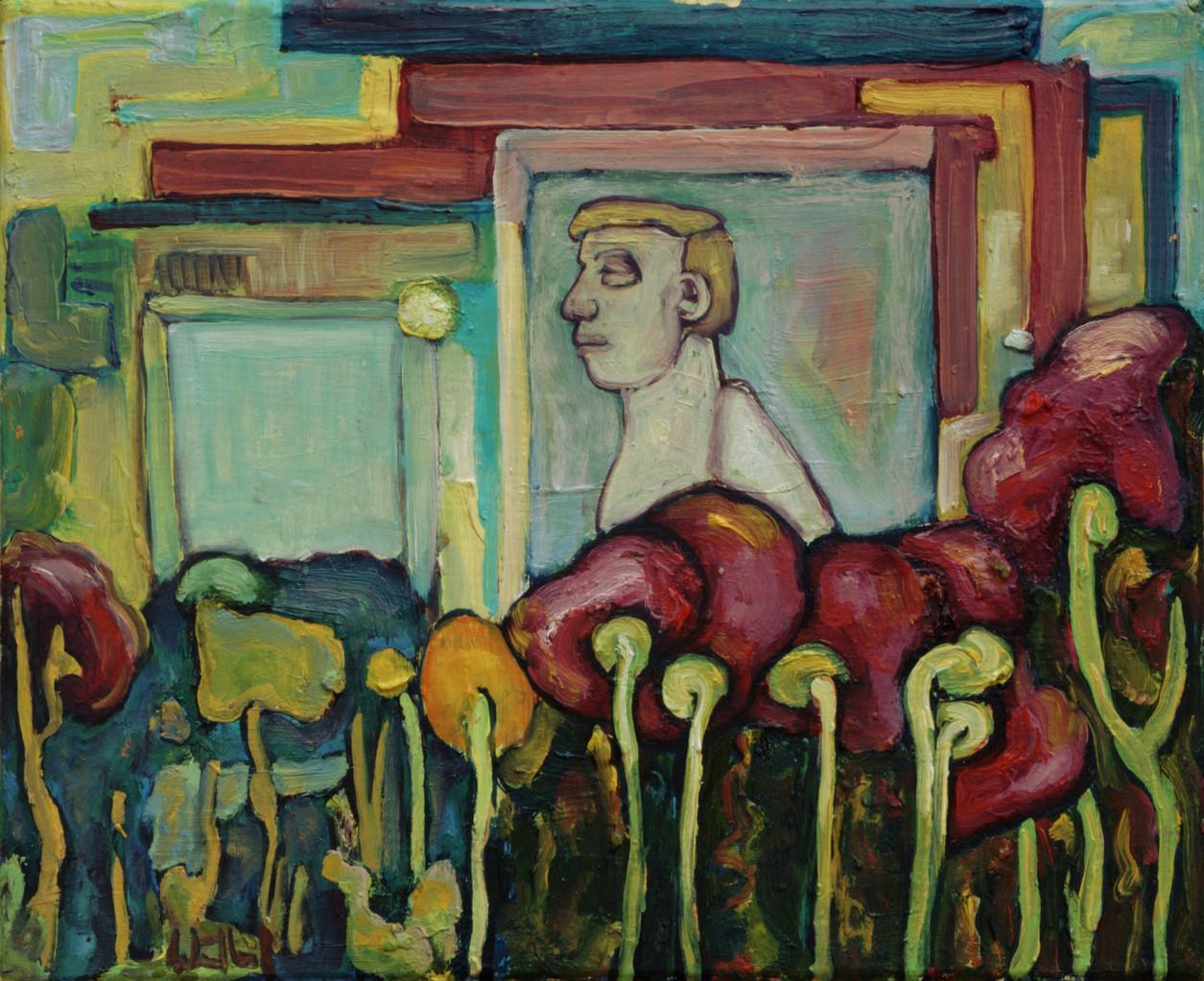 Liebermanngarten · 2013, Acryl Öl auf Pappe, 15 x 19 cm