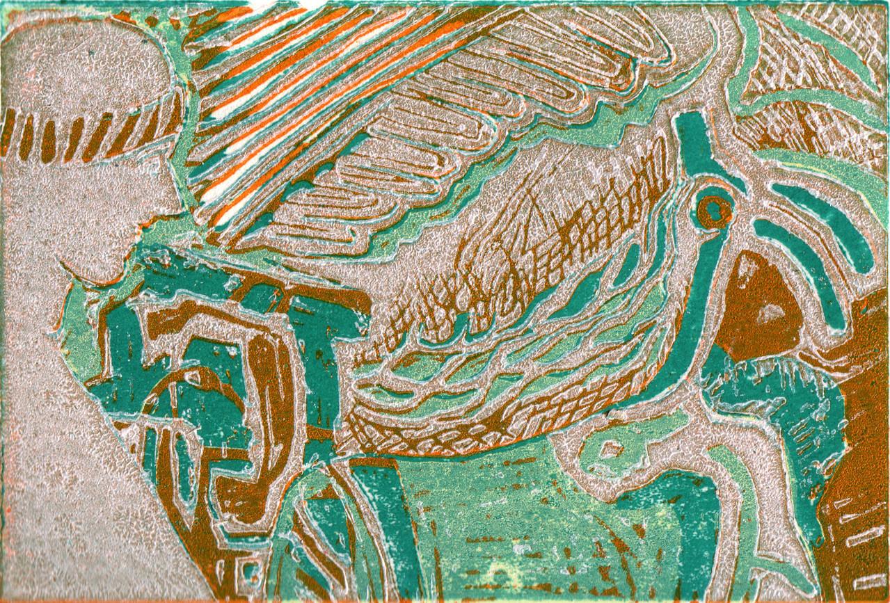 Museumsbesucher · 2013, Holzschnitt, 8 x 12 cm