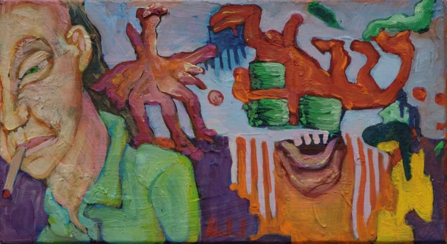 Freaks · 2012, Acryl, Öl auf Pappe, 10 x 19 cm