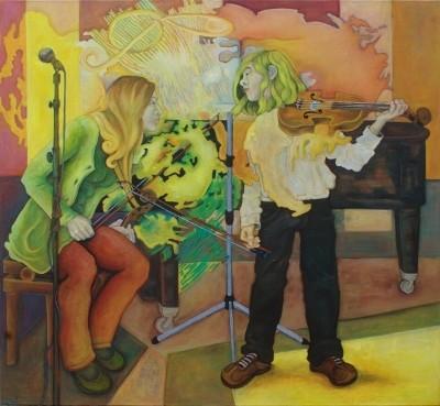 Musikunterricht · 2011, Acryl, Öl auf Leinen, 150 x 160 cm