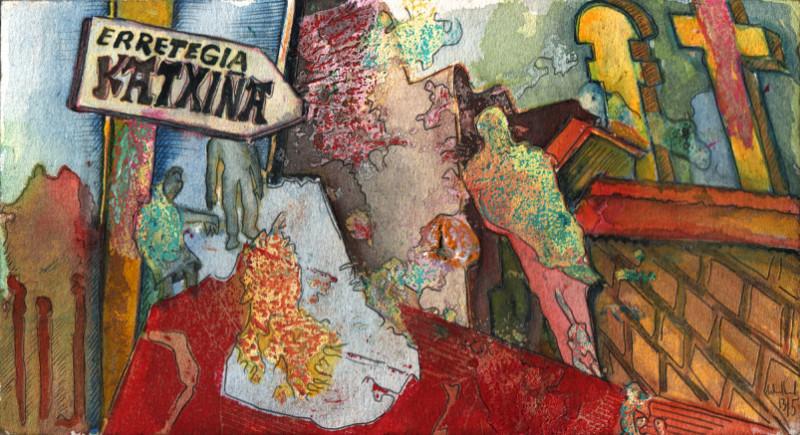Katxina · 2013,  Mischtechnik auf Papier, 11 x 20 cm