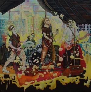 Bubble Rock · 2012, Acryl, Öl auf Nessel, 100 x 100 cm