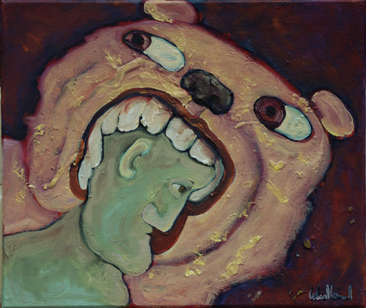 Bär · 2013, Acryl, Öl auf Pappe, 16 x 19 cm